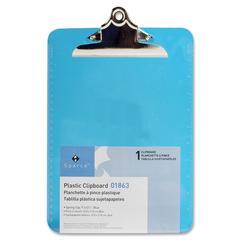 "Sparco Transparent Clipboard - 9"" x 12.50"" - Spring Clip - Plastic - Blue"