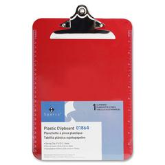 """Sparco Transparent Clipboard - 9"""" x 12.50"""" - Spring Clip - Plastic - Red"""