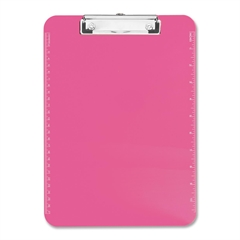 "Sparco Translucent Clipboard - 9"" x 12"" - Low-profile - Plastic - Neon Pink"