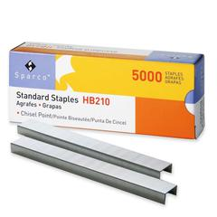 "Sparco Standard Staple - 210 Per Strip - Standard - 1/4"" Leg - 1/2"" Crown - Holds 30 Sheet(s) - for Paper - Chisel Point - Silver - 5000 / Box"