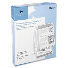 "Sparco Punched Multipurpose Copy Paper - Letter - 8.50"" x 11"" - 20 lb Basis Weight - 3 x Hole Punched - 92 Brightness - 5000 / Carton - White"