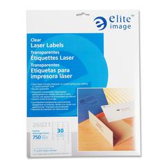 "Elite Image Clear Address Laser Label - 1"" Width x 2.75"" Length - 30 / Sheet - Rectangle - Laser - Clear - 750 / Pack"