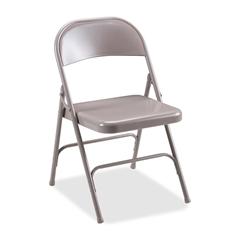 """Lorell Steel Folding Chair - Steel Beige Seat - Steel Beige Frame - 19.4"""" Width x 18.3"""" Depth x 29.6"""" Height"""