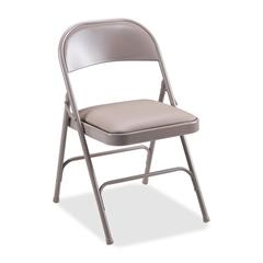 """Lorell Steel Folding Chair - Vinyl Beige Seat - Steel Beige Frame - 19.4"""" Width x 18.3"""" Depth x 29.6"""" Height"""