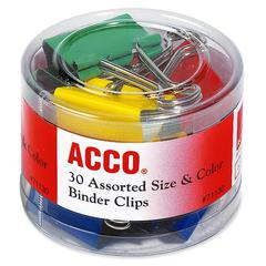 Binder Clips - Reusable, Rust Resistant, Scratch Resistant - 30 / Pack - Assorted - Plastic, Tempered Steel