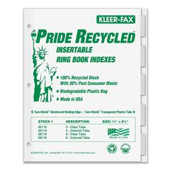 "Kleer-Fax Recycled Insertable Ring Book Index - 5 Tab(s) - 8.50"" Divider Width x 11"" Divider Length - Letter - Clear Tab(s) - 5 / Set"