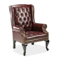 "Lorell 777 QA Queen Anne Wing-Back Reception Chair - Vinyl Burgundy Seat - Hardwood Mahogany Frame - Four-legged Base - Oxblood - Wood - 20"" Seat Width x 19"" Seat Depth - 29"" Width x 30"" Depth x 39.5"""