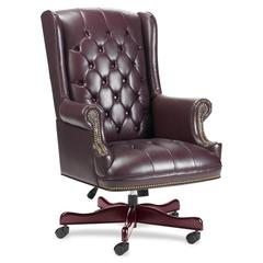 "Lorell Traditional Executive Swivel Chair - Vinyl Oxblood Seat - Hardwood Mahogany Frame - 5-star Base - Oxblood - Wood - 25.75"" Seat Width x 20.50"" Seat Depth - 30"" Width x 32"" Depth x 46"" Height"