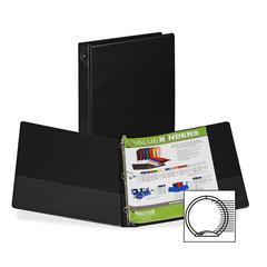 "Samsill Suede Embossed Value Ring Binder - 1"" Binder Capacity - Letter - 8 1/2"" x 11"" Sheet Size - 3 x Round Ring Fastener(s) - Inside Front & Back Pocket(s) - Vinyl - Black - Recycled - 1 Each"