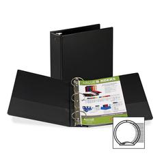 "Samsill Suede Embossed Value Ring Binder - 3"" Binder Capacity - Letter - 8 1/2"" x 11"" Sheet Size - 3 x Round Ring Fastener(s) - Inside Front & Back Pocket(s) - Vinyl - Black - Recycled - 1 Each"