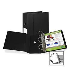"Samsill Angle-D Ring Binder - 5"" Binder Capacity - Letter - 8 1/2"" x 11"" Sheet Size - 3 x D-Ring Fastener(s) - Inside Front Pocket(s) - Black - Recycled - 1 Each"