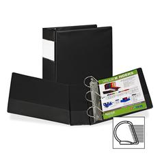 "Samsill Angle-D Ring Binder - 4"" Binder Capacity - Letter - 8 1/2"" x 11"" Sheet Size - 3 x D-Ring Fastener(s) - Inside Front Pocket(s) - Black - Recycled - 1 Each"