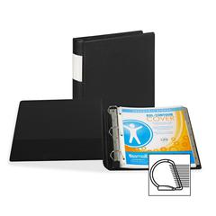 """Samsill Contour Cover D-Ring Reference Binder - 1 1/2"""" Binder Capacity - Letter - 8 1/2"""" x 11"""" Sheet Size - 3 x D-Ring Fastener(s) - Inside Front Pocket(s) - Black - Recycled - 1 Each"""