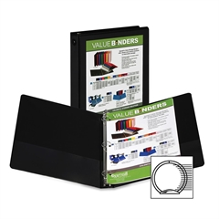 "Samsill Economy Insertable Binder - 1"" Binder Capacity - Letter - 8 1/2"" x 11"" Sheet Size - 225 Sheet Capacity - 3 x Ring Fastener(s) - 2 Internal Pocket(s) - Polypropylene, Chipboard - Black - Recycl"