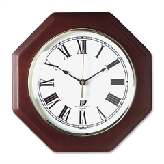 Octagon Mahogany Frame Clock - Analog - Quartz