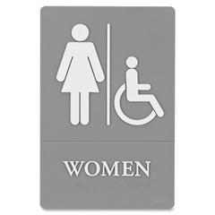 "ADA Women Access Sign - 1 Each - Women Print/Message - 6"" Width x 9"" Height - White Print/Message Color - Disability Access, Injection-molded, Both Sides Display - Plastic - Gray"