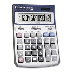 "HS-1200TS 12-Digit Angled Display Calculator - 12 Digits - LCD - Battery/Solar Powered - 1.4"" x 4.8"" x 6.7"" - Black, White - 1 Each"