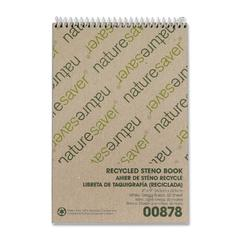 "Nature Saver Recycled Steno Book - 60 Sheets - Printed - Spiral - 6"" x 9"" - White Paper - Chipboard Cover - 1Each"