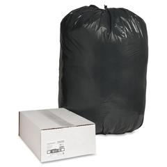 "Nature Saver Black Low-density Recycled Can Liners - Extra Large Size - 60 gal - 38"" Width x 58"" Length x 1.25 mil (32 Micron) Thickness - Low Density - Black - Plastic - 100/Carton - Cleaning Supplie"