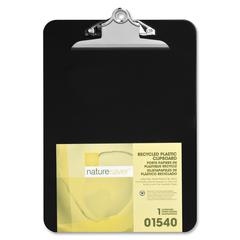 "Nature Saver Recycled Plastic Clipboards - 1"" Clip Capacity - 8.50"" x 12"" - Heavy Duty - Plastic - Black"