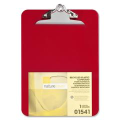 "Nature Saver Recycled Plastic Clipboards - 1"" Clip Capacity - 8.50"" x 12"" - Heavy Duty - Plastic - Red"
