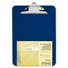 "Nature Saver Recycled Clipboard - 1"" Clip Capacity - 8.50"" x 12"" - Heavy Duty - Plastic - Blue"