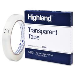 "Highland Highland Transparent Tape - 1"" Width x 72 yd Length - 3"" Core - Acrylic - Acrylic Backing - Glossy - 1 / Pack - Clear"