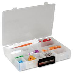 "Infinite Divider Systems Infinite Divider System Box with Handle - External Dimensions: 13.5"" Width x 9.5"" Depth x 2.2"" Height - 16 Dividers - Polyethylene - Translucent - For Multipurpose - 1 Each"