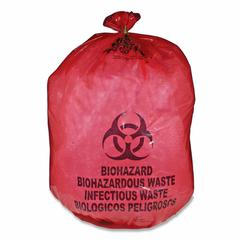 "Medegen Red Biohazard Waste Bag - 25 gal - 31"" Width x 41"" Length x 1.10 mil (28 Micron) Thickness - Red - 50/Box - Office Waste"