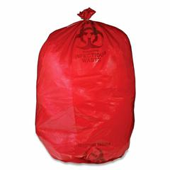 "Medegen Red Biohazard Waste Bag - 33 gal - 31"" Width x 43"" Length x 1.50 mil (38 Micron) Thickness - Red - 50/Box - Office Waste"