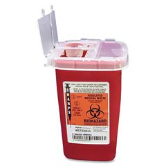 "Covidien Sharps 1 Quart Sharps Container Flip Top - 1 quart Capacity - 6.3"" Height x 4.5"" Width x 4.3"" Depth - Red"