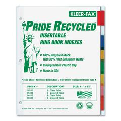 "Kleer-Fax Pride Series 8-Tab Insertable Indexes - 8 Tab(s) - 1 Tab(s)/Set - 1.18"" Tab Height - 8.5"" Divider Width x 11"" Divider Length - Letter - 3 Hole Punched - Assorted Tab(s) - 8 / Set"