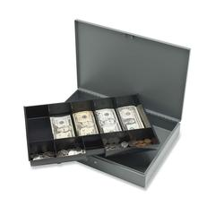 """Sparco All-Steel Locking Cash Box with Tray - 5 Bill - 5 Coin - Steel - Gray - 2"""" Height x 10.5"""" Width x 15"""" Depth"""