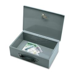 "Sparco All-Steel Insulated Cash Box - Steel - Gray - 3.8"" Height x 12.8"" Width x 8.3"" Depth"