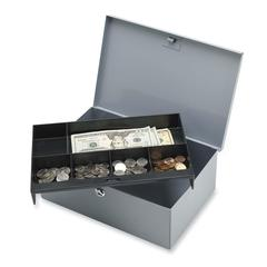 "All-Steel 6 Compartment Tray Cash Box - 1 Bill - 5 Coin - Steel - Gray - 4.3"" Height x 11.3"" Width x 7.5"" Depth"