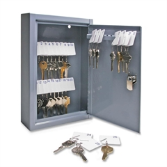 "Sparco All Steel Hook Design Key Cabinet - 8"" x 2.6"" x 12.1"" - Security Lock - Gray - Steel"