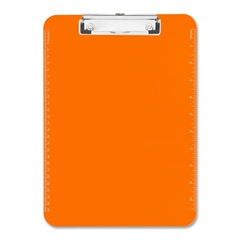 "Sparco Plastic Clipboards w/ Flat Clip - 9"" x 12"" - Low-profile - Plastic - Neon Orange"