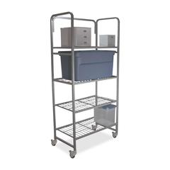 """Mobile Shelving - 35"""" x 20"""" x 75.8"""" - 4 x Shelf(ves) - 300 lb Load Capacity - Locking Casters - Silver - Assembly Required"""