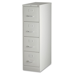 """Vertical file - 15"""" x 26.5"""" x 52"""" - 4 x Drawer(s) for File - Letter - Vertical - Security Lock, Ball-bearing Suspension, Heavy Duty - Light Gray - Steel - Recycled"""