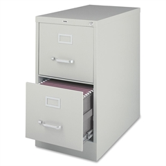 "Lorell Vertical file - 15"" x 25"" x 28.4"" - 2 x Drawer(s) for File - Letter - Vertical - Security Lock, Ball-bearing Suspension, Heavy Duty - Light Gray - Steel - Recycled"