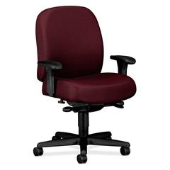 "HON Mid-back Task Chair With Adjustable Arms - Wine - Nano-Tex Fabric Red Seat - 32.3"" x 29.5"" x 43.5"" Overall Dimension"