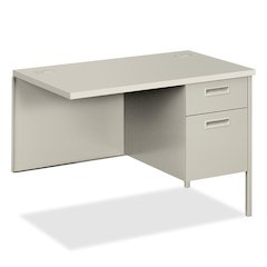 "HON Metro Classic Right Pedestal Return - 42"" x 24"" x 29.5"" - 2 - Double Pedestal - Material: Steel - Finish: Laminate, Light Gray"