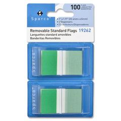 "Sparco Removable Flag - 100 x Blue - 1.75"" x 1"" - Rectangle - Green - See-through, Self-adhesive, Removable - 100 / Pack"
