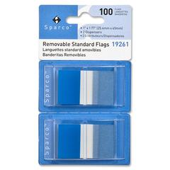 "Removable Flag - 100 x Blue - 1.75"" x 1"" - Rectangle - Blue - See-through, Self-adhesive, Removable - 100 / Pack"