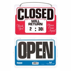 """U.S. Stamp & Sign Will Return Sign w/ Dial-A-Time - 1 Each - Close, Will Return Print/Message - 11"""" Width x 8"""" Height - Mounting Hardware, Customizable Time - Plastic - Multicolor"""