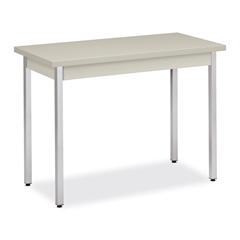 """High-pressure Laminate Utility Table - Rectangle Top - Square Base - 40"""" Table Top Length x 20"""" Table Top Width x 1.12"""" Table Top Thickness - 29"""" Height - Assembly Required - Light Gray"""