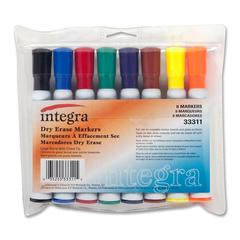 Integra Dry Erase Marker - Chisel Point Style - Assorted - 8 / Set