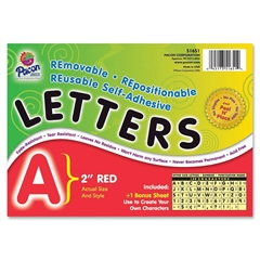 "Pacon Colored Self-Adhesive Removable Letters - 159 Character - Self-adhesive - Acid-free, Fadeless - 2"" Length - Red - 1 / Pack"