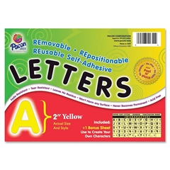 "Pacon Colored Self-Adhesive Removable Letters - 159 Character - Self-adhesive - Acid-free, Fadeless - 2"" Length - Yellow - 1 / Pack"