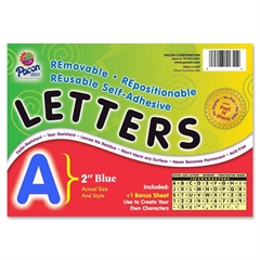 "Pacon Colored Self-Adhesive Removable Letters - 159 Character - Self-adhesive - Acid-free, Fadeless - 2"" Length - Blue - 1 / Pack"